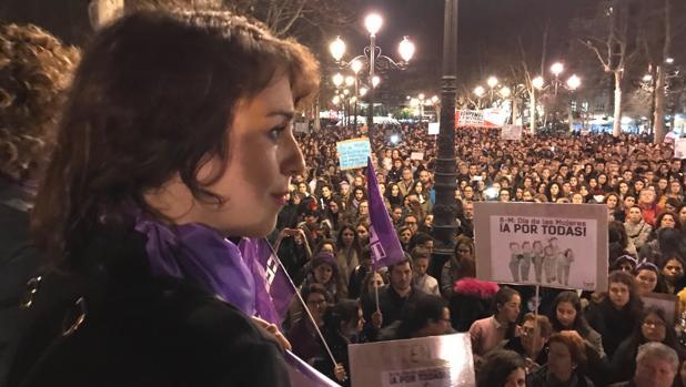Juana Rivas, en la manifestación feminista de Granada.