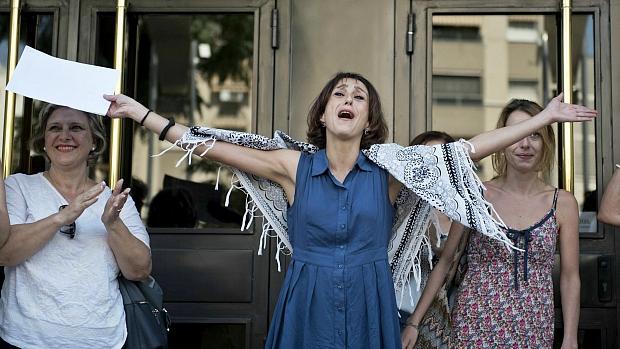 Juana Rivas, en una foto de archivo, al salir de los juzgados de Granada.