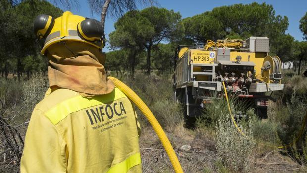 Un bombero forestal tira una manguera de uno de los camiones que prestan servicio en el Infoca
