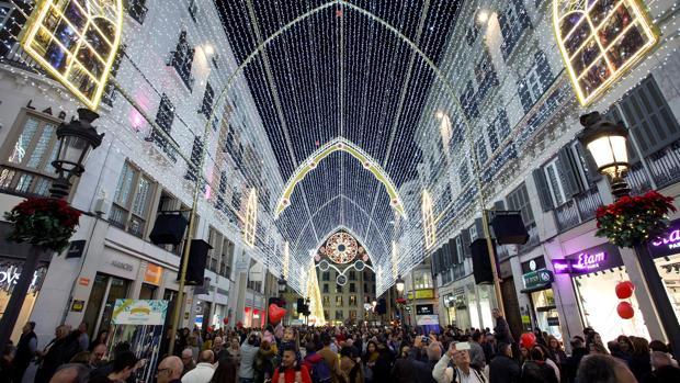 Iluminación navideña en la calle Larios de Málaga