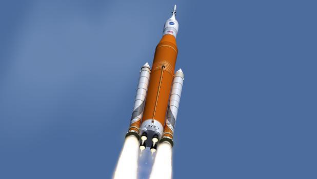 Recreación artística del cohete SLS y la cápsula Orión