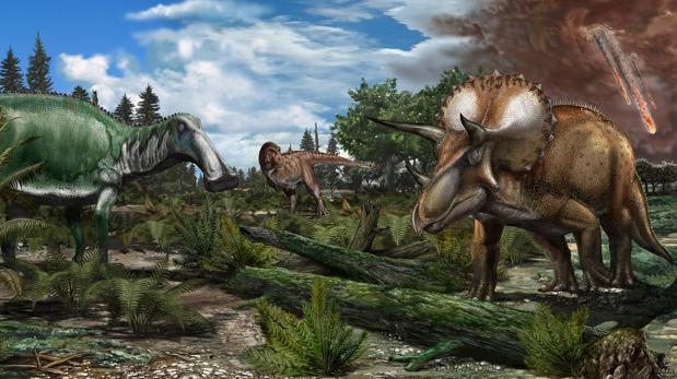 Dinosaurios como Tyrannosaurus rex , Edmontosaurus y Triceratops en una llanura de América del Norte hace 66 millones de años