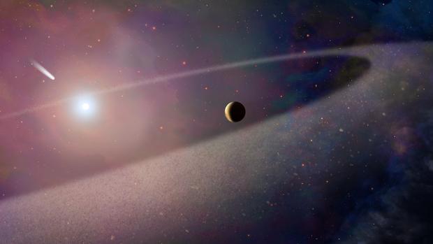 Recreación artística que muestra un objeto masivo similar a un cometa cayendo hacia una enana blanca