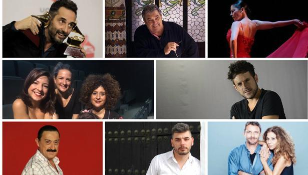 Drexler, Cortez, Baras, Las Niñas, Pablo López, Peña, Demarco y Lolita, en el Falla.