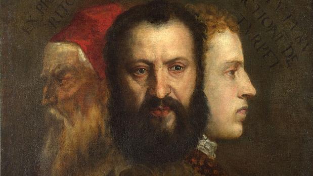 Alegoría del Tiempo gobernado por la Prudencia (c. 1565-70), con retratos de Orazio Tiziano, su joven nieto Marco Vecellio y el propio pintor en edad avanzada