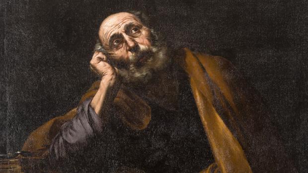 Detalle del lienzo «San Pedro meditando», de José de Ribera, que subasta Isbilya