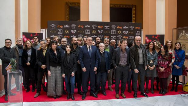 Los nominados andaluces a los Goya, este viernes en el Ayuntamiento de Sevilla