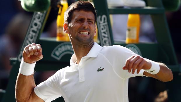 Djokovic celebra su triunfo ante Gulbis