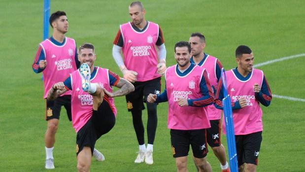 Entrenamiento de la selección española en Sevilla antes del partido de la Liga de las Naciones ante Inglaterra