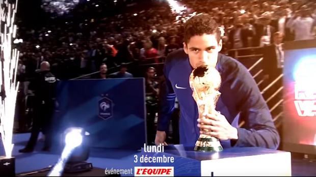 Captura del anuncio de L'Équipe con Varane