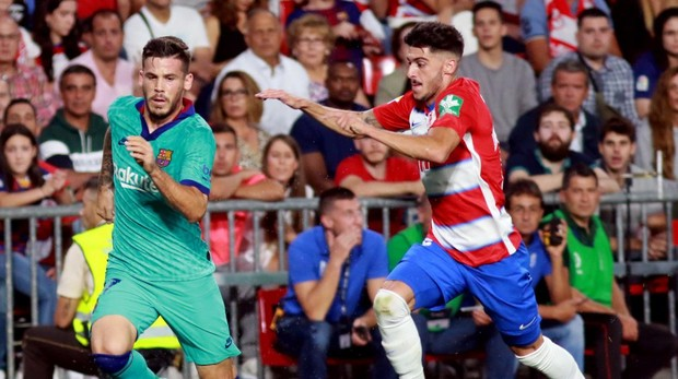 Carlos Neva durante el partido contra el Barcelona.