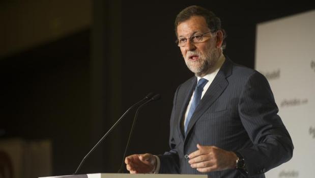 Rajoy durante una conferencia pronunciada en Barcelona