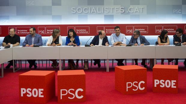 Imagen de las ejecutivas de PSOE y PSC reunidas esta mañana