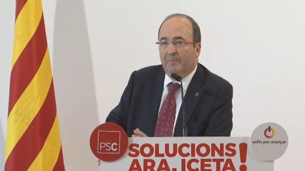 Miquel Iceta, en un acto de campaña del PSC