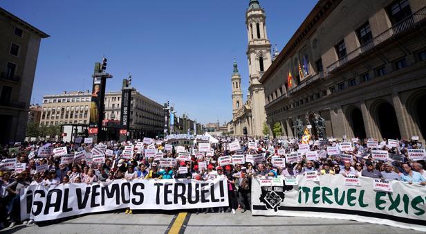 Imagen de archivo de una movilización de vecinos de Teruel