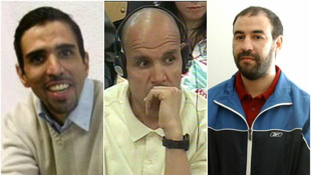 Los yihadistas Zougam, Hassan El Haski y Achraf, por órden de izquierda a derecha.