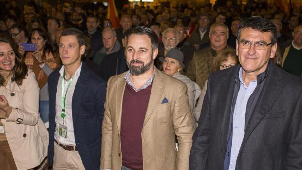 El presidente de Vox, Santiago Abascal, en un mitin en Huelva