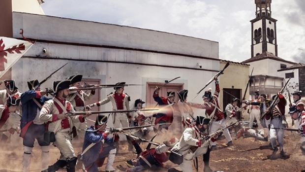 Recreación de la Gesta del 25 de julio de 1797 por Jordi Bru en en Tenerife