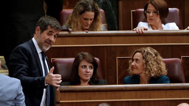 Jordi Sànchez, Adriana Lastra y Meritxell Batet, hoy en el Congreso