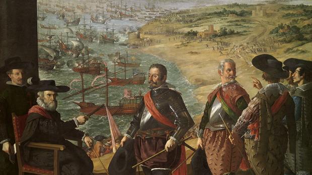Cuadro de Zurbarán en el que aparece representado Fernando Girón, gobernador de Cádiz, dando instrucciones a sus subordinados para organizar la defensa de la ciudad, amenazada por la escuadra inglesa que aparece al fondo, en 1625