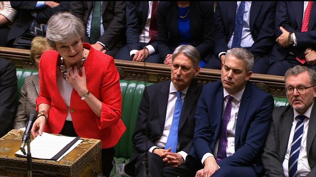 La primera ministra británica, Theresa May, en el Parlamento