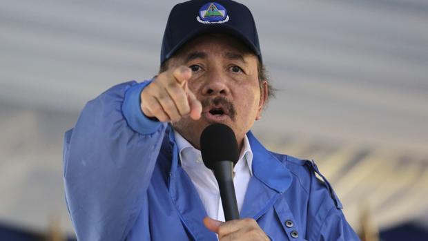 Daniel Ortega, durante un mitin en 2018