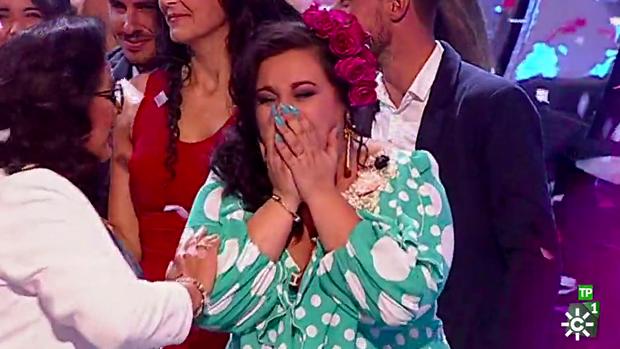 María celebra su victoria en 'Yo soy del sur'.
