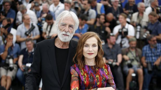 La francesa Isabelle Huppert y el director austriaco Michael Haneke en la 70 edición del Festival de Cine de Cannes