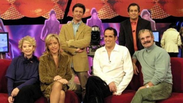 Ximo Rovira, junto a Karmele Marchante, Lydia Lozano, Antonio Casado, Aurelio Manzano y Jesús Mariñas, en «Tómbola»