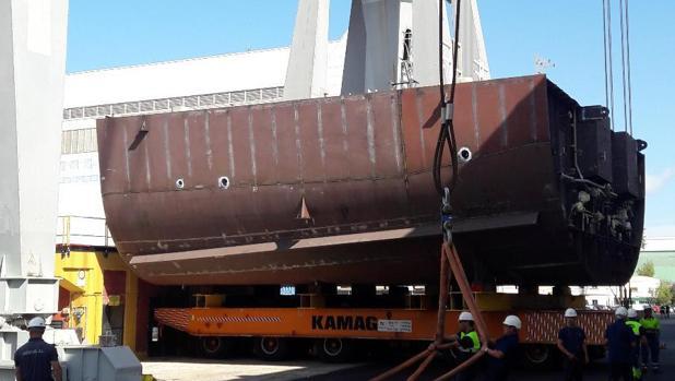 Primer bloque de la primera corbeta saudí que se construye en San Fernando