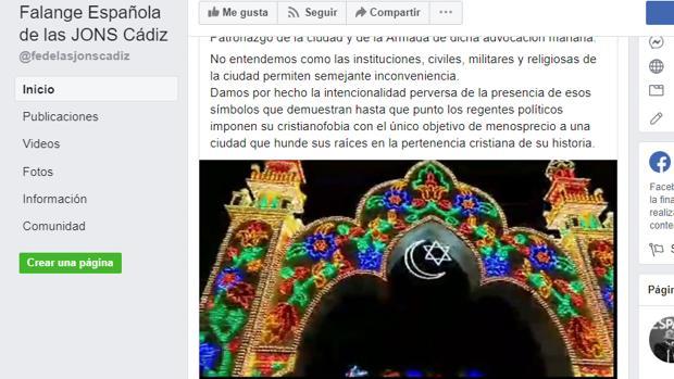 Publicación realizada por Falange Esapñola de La JONS Cádiz criticando la portad de la feria del Carmen.