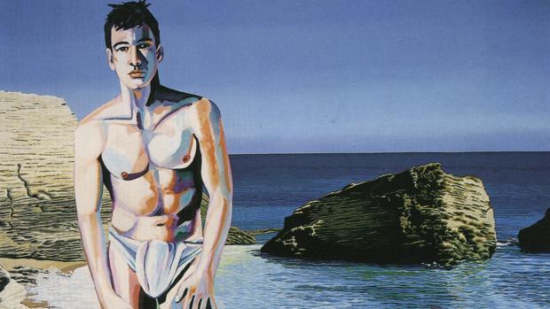 """Caños de la Meca (1987). Pintura de los artistas Juan Carrero y Enrique Naya, Costus, perteneciente a la serie """"La Andalucía de Séneca"""""""