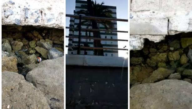 Partes del muro del paseo de la Paz, en la avenida de la Bahía, se están desprendiendo.
