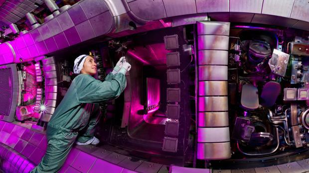 Eleonora Viezzer dentro de un reactor de fusión nuclear, el tokamak ASDEX Upgrade
