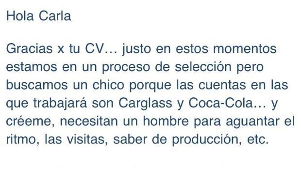 Captura de pantalla de la respuesta que recibió una joven de Barcelona por un puesto de trabajo