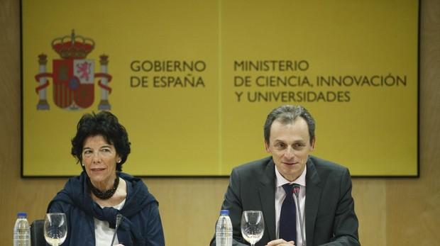 La ministra de Educación y FP, Isabel Celaá, y el ministro de Ciencia, Innovación y Universidades, Pedro Duque, presiden el Observatorio de Becas